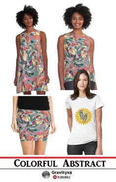 Colorful Abstract - Green,Orange,Yellow and More Designed on Women's Fashion by Gravityx9 Designs at Redbubble.  Complete your summer wardrobe and accessories with this original abstract design.Colorful shades from top to bottom. With shades of Green,Orange,Yellow and more to add a splash of color to your life! Colorful , but not too bright.