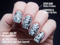 Chalkboard Nails: The Ultimate Black and White Glitter Comparison Post