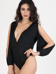 896a2f40fb 2 Colors Backless Bodysuit Jumpsuit Ruched Long Slit Sleeve Sexy Deep V Neck  Casual Romper 2017 Women Clothing Black White