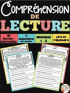 Reading Comprehension: This resource includes 20 short stories - informational text printables with comprehension questions that are perfect for small group instruction, whole group instruction, centers, assessment or homework. Reading Comprehension Worksheets, Reading Passages, Reading Resources, Teaching Reading, Comprehension Questions, Teacher Resources, Teaching French, French Teacher, French Language Learning
