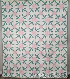 "Graduation Gift 1935 Vintage Applique Rose QUILT 91x77"" Banks Family"