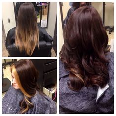 Before and after. Gorgeous dark chocolate/mahogany brown hair and a pop of blonde