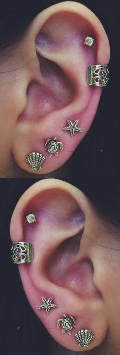Tribal Ear Piercing Ideas at MyBodiArt.com - Seashell Earring, Turtle Cartilage Stud, Starfish 16G Barbell, Ear Cuff Earring