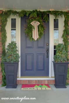DIY Porch Christmas Decor,  Love flower boxes with door!