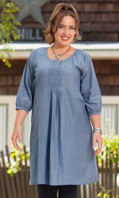 Enjoy down home comfort with a rustic flair in our Melanie Tunic Dress… Stylish Plus Size Clothing, Plus Size Fashion For Women, Plus Size Women, Curvy Fashion, Modest Fashion, Plus Fashion, Plus Size Dresses, Plus Size Outfits, Looks Style