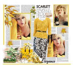 """""""Scarlett Johansson"""" by shanna1961 ❤ liked on Polyvore featuring SCARLETT, Oscar de la Renta and Dooney & Bourke"""