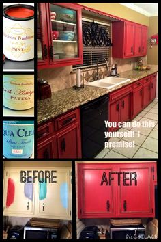DIY RED Painted Kitchen Cabinets by Tracey's Fancy. It's easy to give your kitch… DIY RED Painted Kitchen Cabinets by Tracey's Fancy. It's easy to give your kitchen a makeover with painted cabinets using Heirloom Traditions' chalk type paints Red Kitchen Cabinets, Painting Kitchen Cabinets, Kitchen Paint, Kitchen Redo, Rustic Kitchen, Turquoise Kitchen Cabinets, 10x10 Kitchen, Vintage Kitchen, Red Kitchen Walls