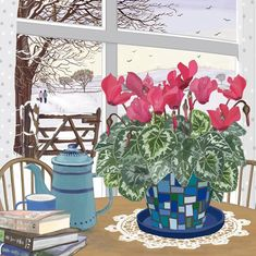 'Winter's Day', by UK Artist Mig Wyeth. Published by Green Pebble. Winter Illustration, Illustration Art, Art Illustrations, Art Populaire, Square Card, Through The Window, Winter Day, Watercolor Print, White Envelopes