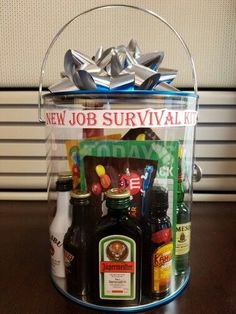 DIY New Job Survival Kit gifts for employees from boss New Job Survival Kit, Survival Kit Gifts, Survival Food, Farewell Gift For Coworker, Farewell Gifts, Leaving Party, Leaving Gifts, Gifts For Boss, Gifts For Coworkers