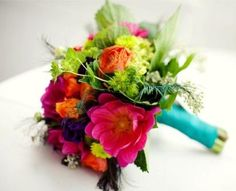 Hot Pink, Orange and Lime Bouquet