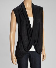 Look what I found on #zulily! Black Drape Neck Top by Atop Apparel #zulilyfinds