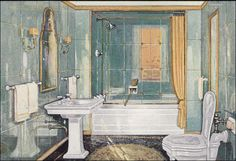1926 Crane bathroom design.  Still looks fresh and in style almost 80 years later--a real classic.