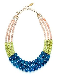 David Aubrey necklace from the Lauren collection - lace blue agate, olive jade, and peach jade. Via David Aubrey.