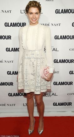 White on the money! Jessica Hart showed off her tanned pins in a sweet lace dress as she stepped out at the 2015 Glamour Women of the Year Awards in New York on Monday