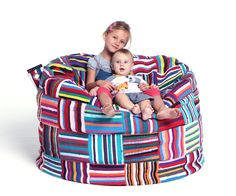 Up-cycled Colorful African Bean Bag by PhilosophieBySophie on Etsy