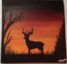 Buck deer in the woods silhouette by SweetCandyPurses on Etsy . Shadow Painting, Easy Canvas Painting, Canvas Art, Silhouette Painting, Animal Silhouette, Hirsch Silhouette, Hunting Painting, Deer Drawing, Animal Paintings