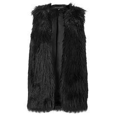 Black Faux Fur Gilet (1.305 CZK) ❤ liked on Polyvore featuring outerwear, vests, faux fur waistcoat, faux fur vest, fake fur vest, black waistcoat and black faux fur gilet