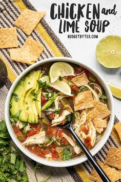 This Chicken and Lime Soup is light, fresh, and flavorful with shredded chicken, vegetables, fresh cilantro, and a tangy lime infused broth. BudgetBytes.com #soup #chicken