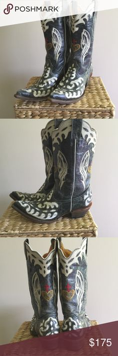 """Cowboy Boots Unique! Women's Western Boots Purchased in Dallas. Men's 6 shown inside but I wear a women's size 8. On bottom side of boot (sole side) Very tip of toe to back of heel measure approximately 11.5 inches. Underneath across measures 4"""" width. Underlay is patchwork white snake skin with distressed faded black leather designed overlay. White wings, gold heart and Red Cross in middle front and back. Gently worn. My cowboy boot collection is too extensive for me to enjoy them all…"""
