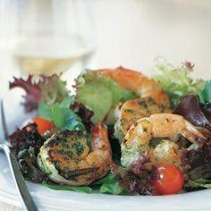 Pesto Shrimp on Mixed Greens