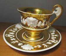Antique PORCELAIN TEACUP Saucer BACCHUS Heavy GOLD Sevres MEISSEN Minton ?