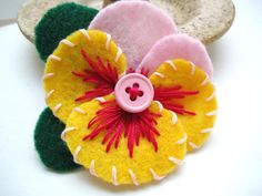 Green and Pink Flower Pin Pink Pansy Pin Pink by LizabethDezigns, $14.00