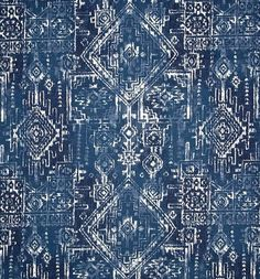 Aztec Indigo Navy Blue Cotton Fabric by the Yard by CottonCircle