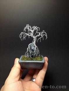 Weeping wire bonsai tree on rock by Ken To by KenToArt.deviantart.com on @deviantART
