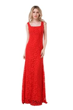 Hollywood Inspired Red Imported Italian 3d Textured Lace Sleeveless Dress