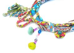 fabric necklace.multistrand necklace,colourful fabric necklac,multistrand necklace' neck ornament.neck adornment, fabric braided necklace. $150.00, via Etsy.