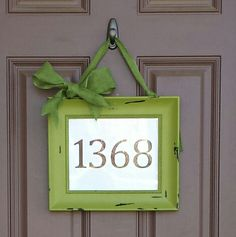 We have no house number by our door, so why not put one ON the door! Took a distressed picture frame from Hobby Lobby. Printed our address on our home computer, and tied a green burlap bow!