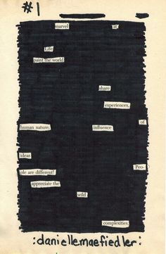 https://www.facebook.com/daniellemaefiedler blackout poetry poems prose rhetoric freeverse love life thoughts minipoems