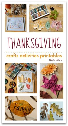 Thanksgiving crafts, activities and printables for children - NurtureStore Thanksgiving Celebration, Thanksgiving Crafts For Kids, Autumn Crafts, Art Activities For Kids, Autumn Activities, Art For Kids, Leaf Coloring Page, Watermelon Crafts, State Crafts