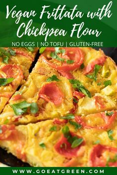 Make your own vegan frittata with chickpea flour, no eggs no tofu required. Simple gluten-free recipe for dinner, breakfast, brunch, lunch, or snack. #veganfrittata #chickpeaflourrecipe Vegetarian Breakfast Recipes, Gluten Free Recipes For Dinner, Good Healthy Recipes, Vegan Recipes, Vegan Breakfast, Breakfast Ideas, Easy Vegan Lunch, Vegan Lunches, Clean Eating Breakfast