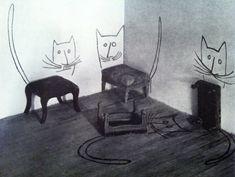 Saul Steinberg Stool Cats Undated