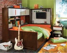 Nickelodeon Teen Nick Full Daybed with Cabinet Headboard