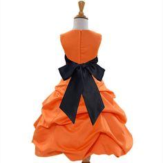 Oranje bloemenmeisje jurk tiebow sash optocht door ekidsbridalusa