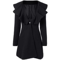 High Waist Flounce Single Breasted Wool Blend Coat (€20) ❤ liked on Polyvore featuring outerwear, coats, rosegal, single-breasted trench coats, high waist coat, wool blend coat and ruffle coat