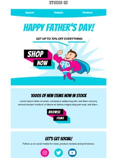 Celebrate Father's Day with your subscribers - with this superhero themed email template. Exclusively available in Mail Designer 365 Html Email Templates, Campaign Monitor, Email Service Provider, Mobile Responsive, Best Email, Email Design, Happy Fathers Day, Lorem Ipsum, Ads