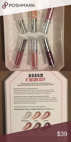 BRAND NEW Holiday Exclusive Buxom 6 Below Sexy BUXOM limited edition holiday 2016 lip plumping set - 6 beautiful shades - brand new unused - super sparkly and truly plumping - cooling feel - all packaging intact - pet free - smoke free - thank you Bare Escentuals Makeup Lip Balm & Gloss