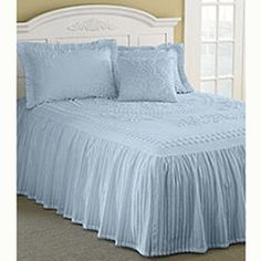 Heavy California King Chenille Bedspread | Clearance - Mary Janes Home Tufted Chenille Twin Bedspread- Blue