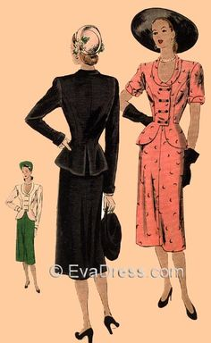 1940s dress patterns By: Dollface & Dapper Vintage Clothes on eBay and Etsy