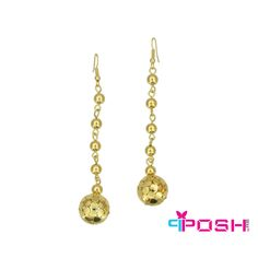 POSH Dana - Earrings - Gold metal beads drop earrings - Gold colour - Dimension: x POSH by FERI - Passion for Fashion - Luxury fashion jewelry for the designer in you. Fashion Accessories, Fashion Jewelry, Women Jewelry, Monogram Earrings, Gold Fashion, Luxury Fashion, Selling On Pinterest, Gold Drop Earrings, Metal Beads