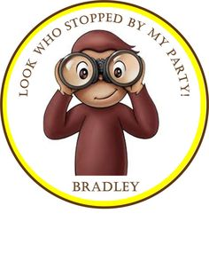 """Curious George Party Stickers - 2"""" or 2.5"""" round"""