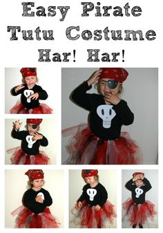 Easy Halloween Costume - this is a super cute and easy to make Pirate Girl Costume. Perfect for Halloween or a Pirate Party. Pirate Costume Fille, Pirate Tutu, Diy Pirate Costume For Kids, Homemade Pirate Costumes, Pirate Day, Pirate Crafts, Pirate Birthday, Pirate Theme, Costumes Avec Tutu