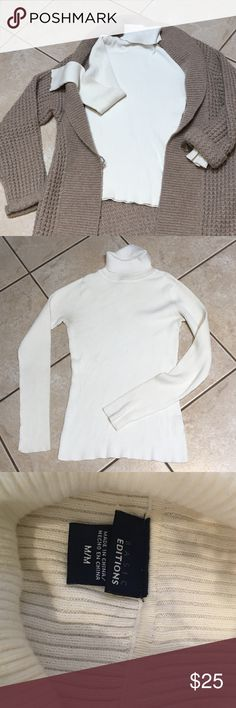 Basic Editions turtleneck I'm selling a basic dabbed turtleneck to wear under all those fall/ winter sweaters and coats...sometimes the most basic things are the hardest to find... the off white color as well as the extra long sleeves make it the perfect addition to your closet Basic Edition Sweaters Cowl & Turtlenecks