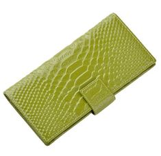 Heshe Womens Leather Croco Purse Wallet with 12 Credit Card Slots Bags Green *** You can find more details by visiting the image link.
