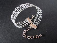 Ajour  Simple Lace Bracelet  Light Colors  White by A5lace on Etsy