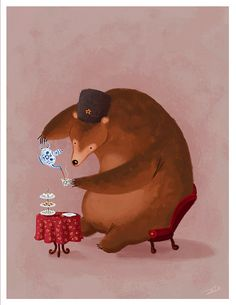 Russian Tea Bear - We're loving all the bear themed tea art we're finding today!