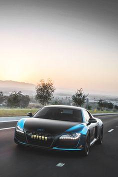 Blue-Black Audi R8 at sunrise - Audi Warning Lights guide in App Store now http://Carwarninglight.com